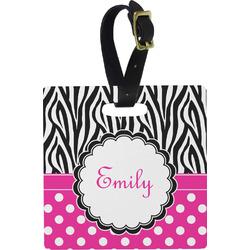 Zebra Print & Polka Dots Square Luggage Tag (Personalized)