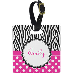 Zebra Print & Polka Dots Luggage Tags (Personalized)