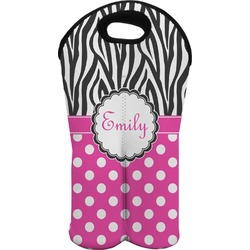 Zebra Print & Polka Dots Wine Tote Bag (2 Bottles) (Personalized)