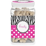 Zebra Print & Polka Dots Pet Treat Jar (Personalized)