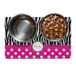 Zebra Print & Polka Dots Pet Bowl Mat (Personalized)