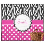 Zebra Print & Polka Dots Outdoor Picnic Blanket (Personalized)