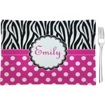 Zebra Print & Polka Dots Glass Rectangular Appetizer / Dessert Plate - Single or Set (Personalized)