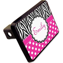 "Zebra Print & Polka Dots Rectangular Trailer Hitch Cover - 2"" (Personalized)"