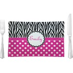 Zebra Print & Polka Dots Glass Rectangular Lunch / Dinner Plate - Single or Set (Personalized)