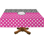 Zebra Print & Polka Dots Rectangle Tablecloth (Personalized)