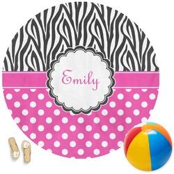 Zebra Print & Polka Dots Round Beach Towel (Personalized)
