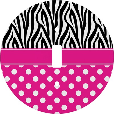 Zebra Print & Polka Dots Round Light Switch Cover (Personalized)