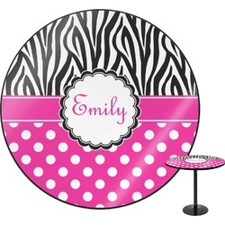 "Zebra Print & Polka Dots Round Table - 30"" (Personalized)"