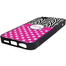 Zebra Print & Polka Dots Rubber iPhone 5/5S Phone Case (Personalized)