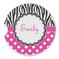 Zebra Print & Polka Dots Sandstone Car Coaster - Single (Personalized)