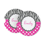 Zebra Print & Polka Dots Sandstone Car Coasters (Personalized)