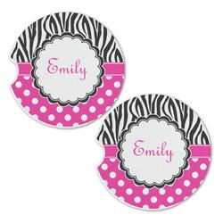 Zebra Print & Polka Dots Sandstone Car Coasters - Set of 2 (Personalized)