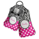 Zebra Print & Polka Dots Hand Sanitizer & Keychain Holder (Personalized)