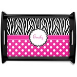 Zebra Print & Polka Dots Black Wooden Tray (Personalized)