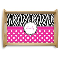 Zebra Print & Polka Dots Natural Wooden Tray (Personalized)