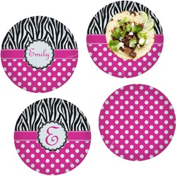 """Zebra Print & Polka Dots Set of 4 Glass Lunch / Dinner Plate 10"""" (Personalized)"""