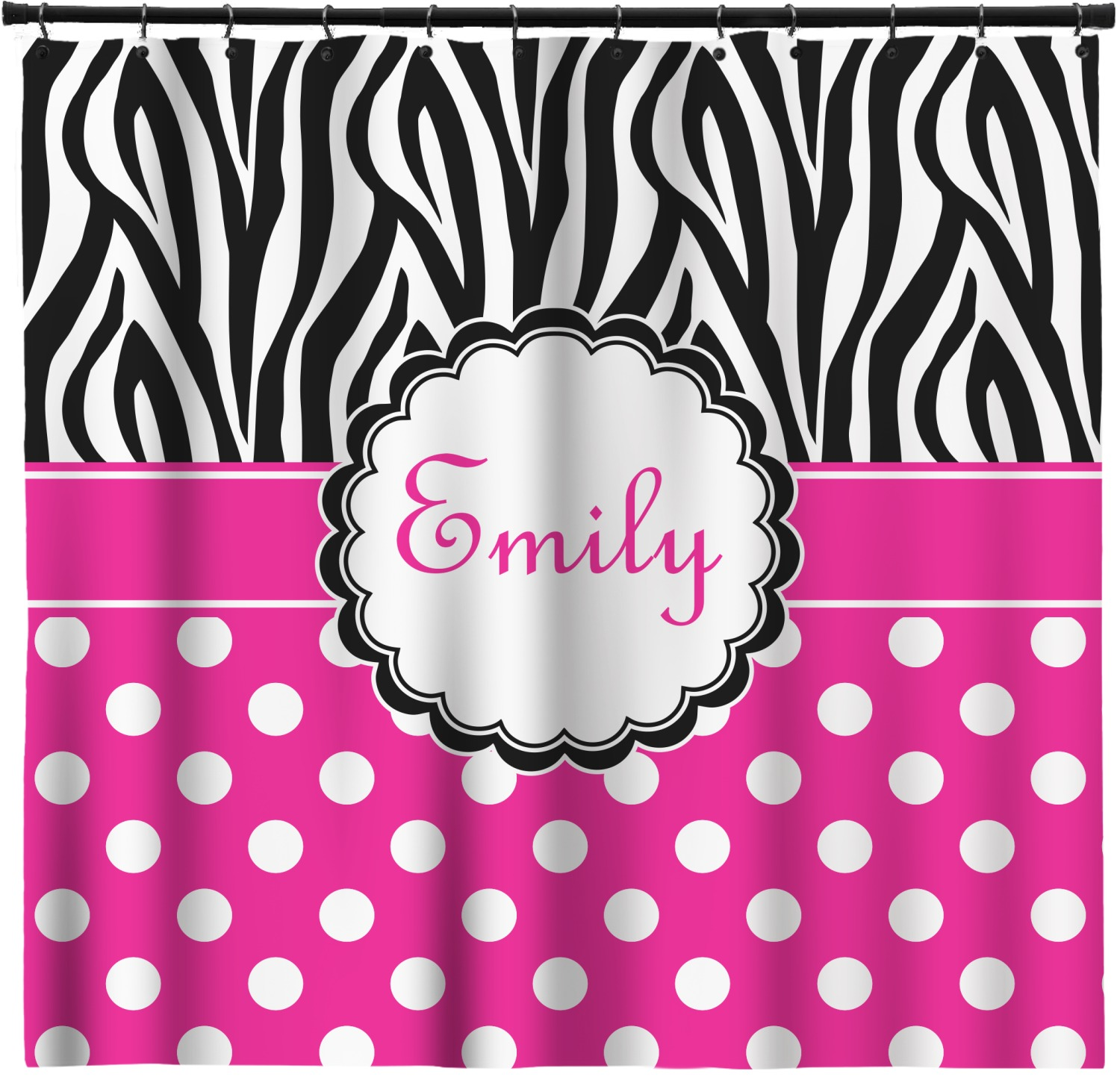 Zebra Print Polka Dots Shower Curtain Personalized Youcustomizeit