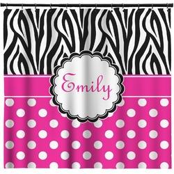 Zebra Print & Polka Dots Shower Curtain (Personalized)