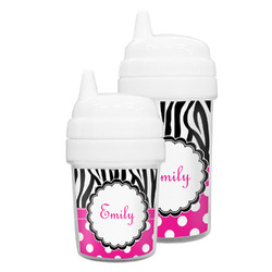Zebra Print & Polka Dots Sippy Cup (Personalized)