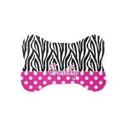 Zebra Print & Polka Dots Bone Shaped Dog Food Mat (Small) (Personalized)