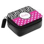 Zebra Print & Polka Dots Small Leatherette Travel Pill Case (Personalized)