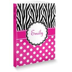 """Zebra Print & Polka Dots Softbound Notebook - 7.25"""" x 10"""" (Personalized)"""