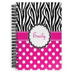 Zebra Print & Polka Dots Spiral Bound Notebook (Personalized)