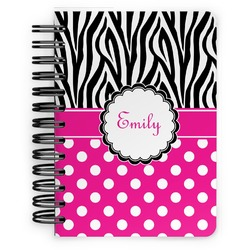 Zebra Print & Polka Dots Spiral Bound Notebook - 5x7 (Personalized)