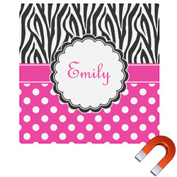 Zebra Print & Polka Dots Square Car Magnet (Personalized)
