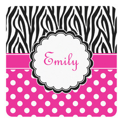 Zebra Print & Polka Dots Square Decal - Large (Personalized)
