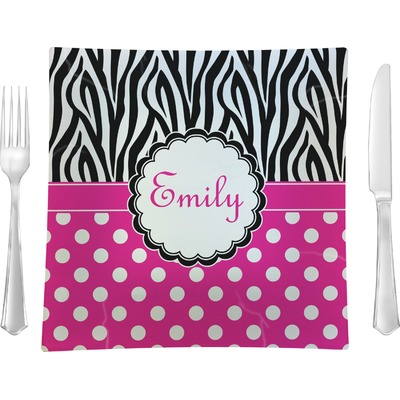 """Zebra Print & Polka Dots 9.5"""" Glass Square Lunch / Dinner Plate- Single or Set of 4 (Personalized)"""