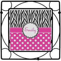 Zebra Print & Polka Dots Square Trivet (Personalized)