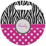 Zebra Print & Polka Dots Stadium Cushion (Round) (Personalized)