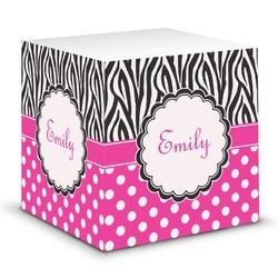 Zebra Print & Polka Dots Sticky Note Cube (Personalized)