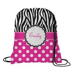 Zebra Print & Polka Dots Drawstring Backpack (Personalized)