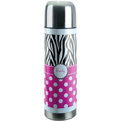 Zebra Print & Polka Dots Stainless Steel Thermos (Personalized)