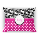 Zebra Print & Polka Dots Rectangular Throw Pillow (Personalized)