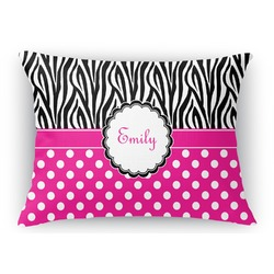 Zebra Print & Polka Dots Rectangular Throw Pillow Case (Personalized)