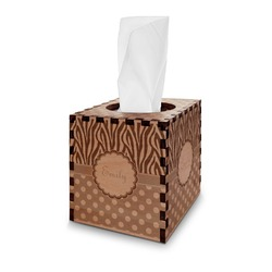 Zebra Print & Polka Dots Wooden Tissue Box Cover - Square (Personalized)