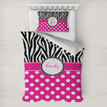Zebra Print & Polka Dots Toddler Bedding w/ Name or Text