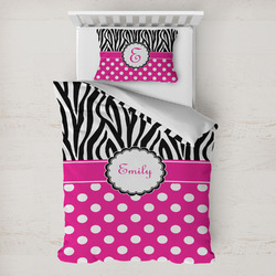 Zebra Print & Polka Dots Toddler Bedding w/ Name or Text