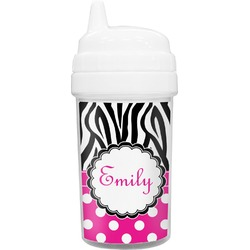 Zebra Print & Polka Dots Toddler Sippy Cup (Personalized)