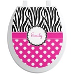 Zebra Print & Polka Dots Toilet Seat Decal (Personalized)
