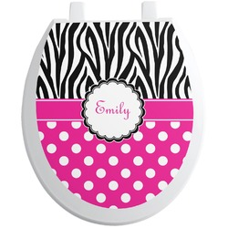 Zebra Print & Polka Dots Toilet Seat Decal - Round (Personalized)
