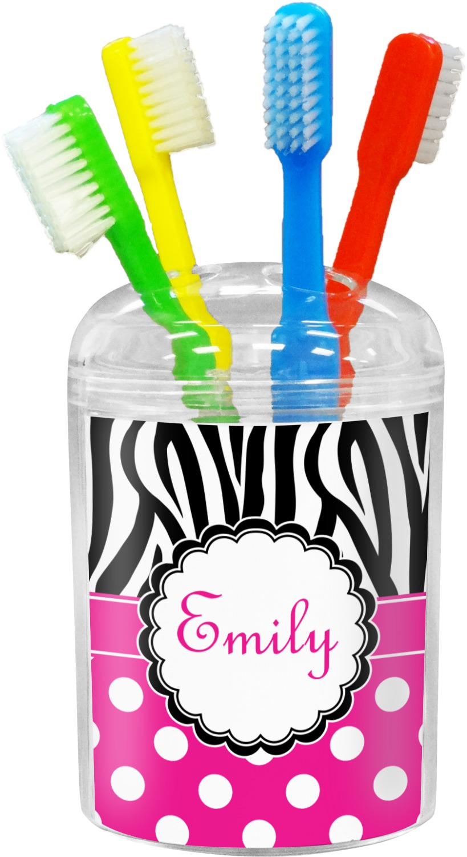 Zebra Print & Polka Dots Toothbrush Holder (Personalized ...