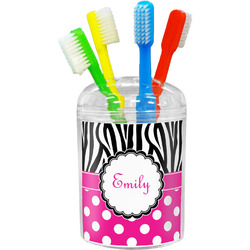 Zebra Print & Polka Dots Toothbrush Holder (Personalized)
