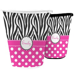 Zebra Print & Polka Dots Waste Basket (Personalized)