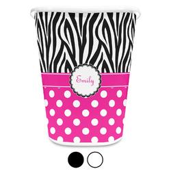 Zebra Print & Polka Dots Waste Basket (Personalized)