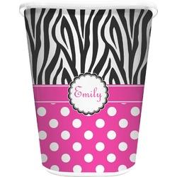 Zebra Print & Polka Dots Waste Basket - Single Sided (White) (Personalized)